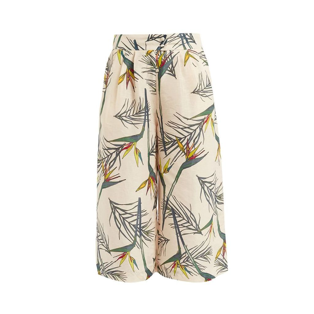 WtR - WtR Cream Linen Tropical Print Culottes