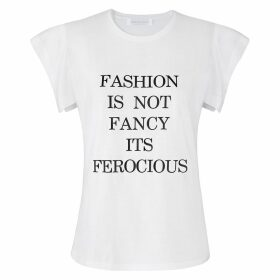 S I O B H A N M O L L O Y - White Fashion Is Not Fancy Fly-Away Sleeve T-Shirt
