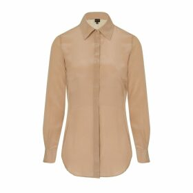 Sophie Cameron Davies - Beige Fitted Silk Shirt