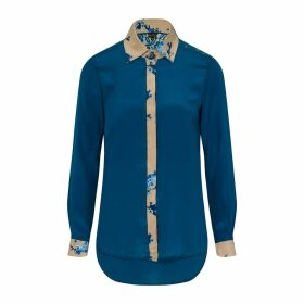 Sophie Cameron Davies - Teal Printed Classic Silk Shirt