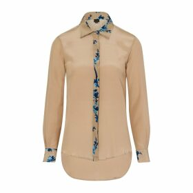 Sophie Cameron Davies - Beige Printed Classic Silk Shirt