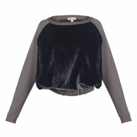 MUZA - Paneled Velvet Sweatshirt