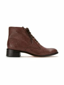 Sarah Chofakian leather ankle length boots - Brown