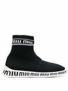Miu Miu sock style logo boots - Black