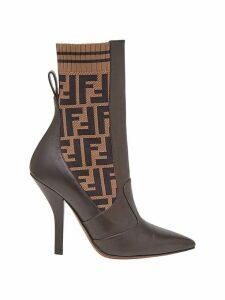 Fendi FF motif ankle boots - Brown