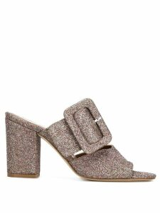 Paris Texas glitter buckled mules - Metallic