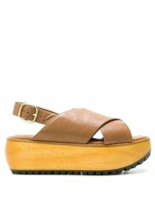 Marni Fussbett flatform sandals - Brown