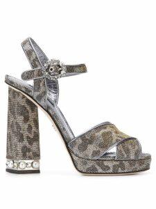 Dolce & Gabbana bejeweled heel platform sandals - Grey