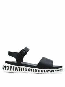 Miu Miu flat logo sole sandals - Black
