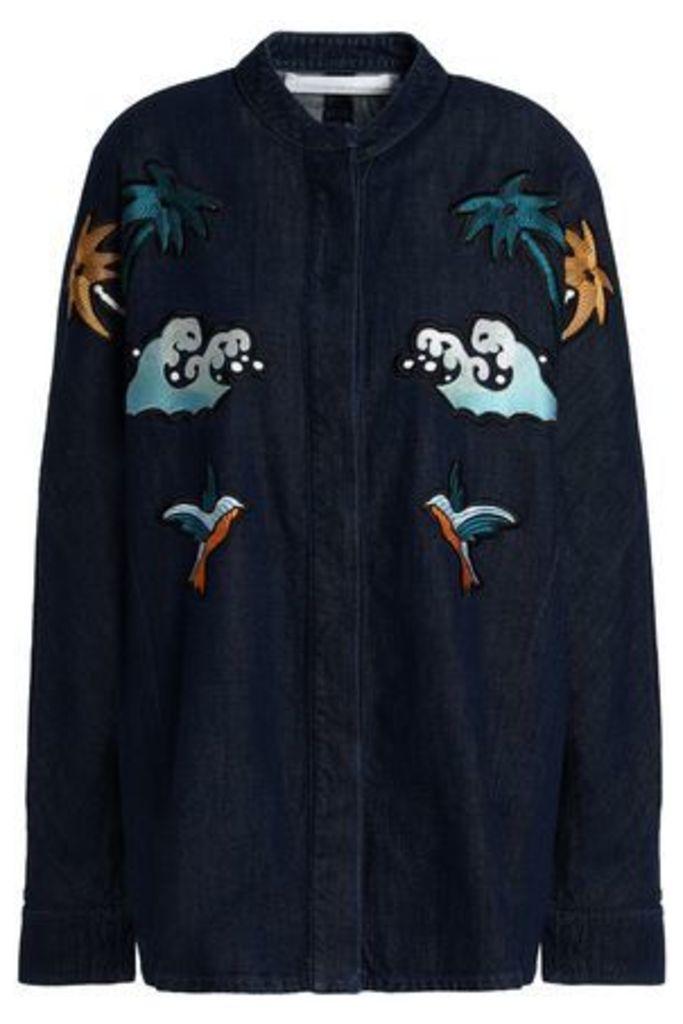 Victoria, Victoria Beckham Woman Embroidered Denim Jacket Dark Denim Size 8