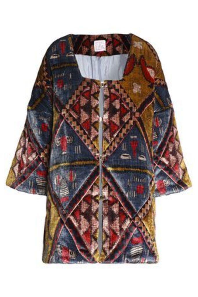 Stella Jean Woman Printed Chenille Jacket Mustard Size 40