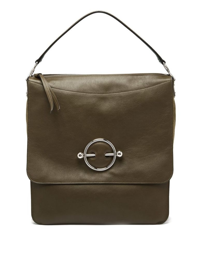 Disc leather hobo bag