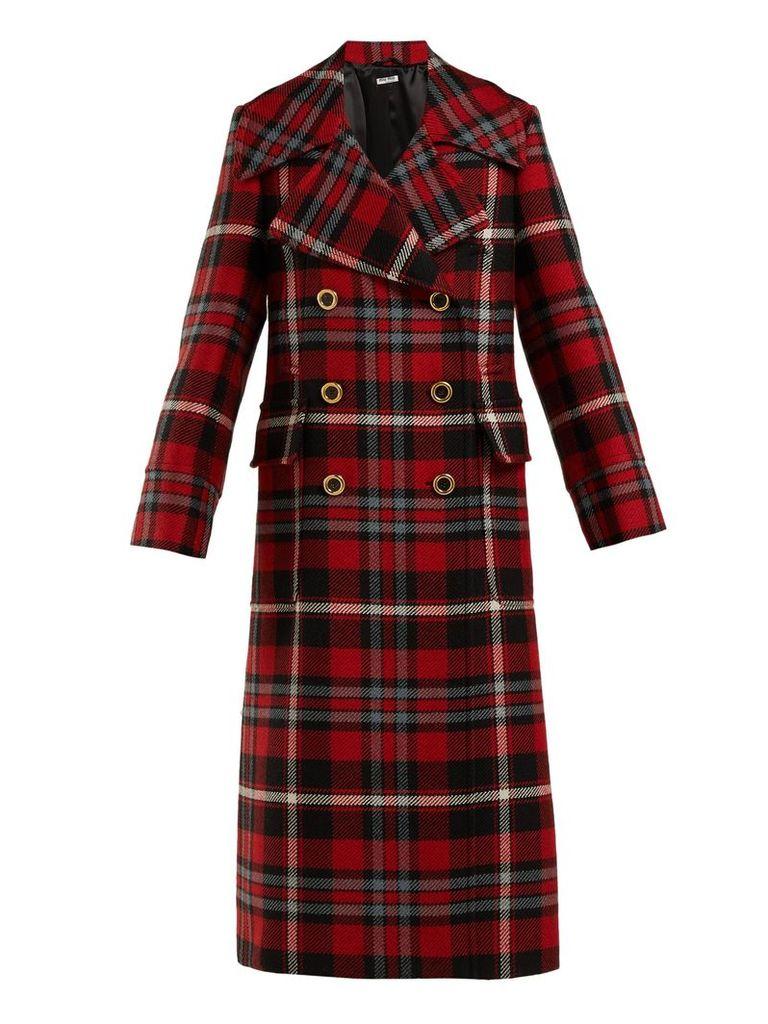 Wool-mohair tartan coat