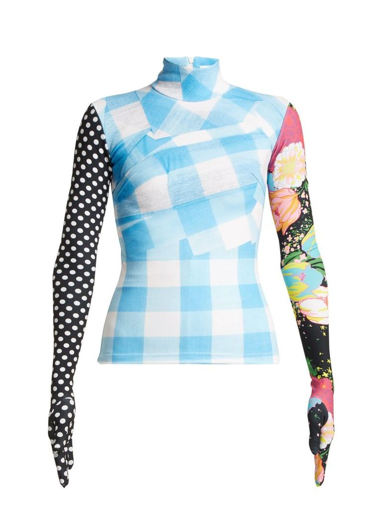Contrasting-print high-neck top