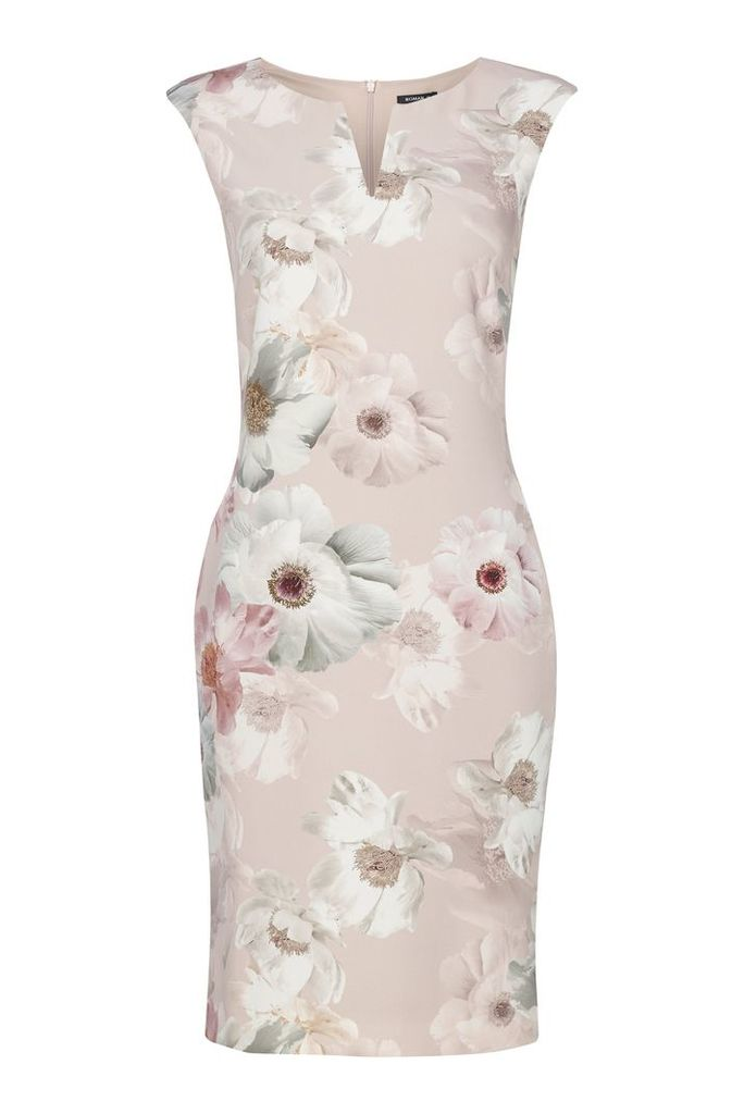 Roman Originals Floral All Over Print Scuba Dress, Light Pink