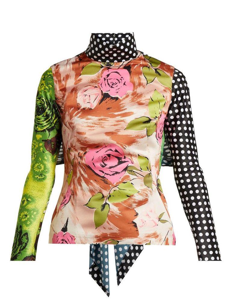 Tie-back floral-print panelled top