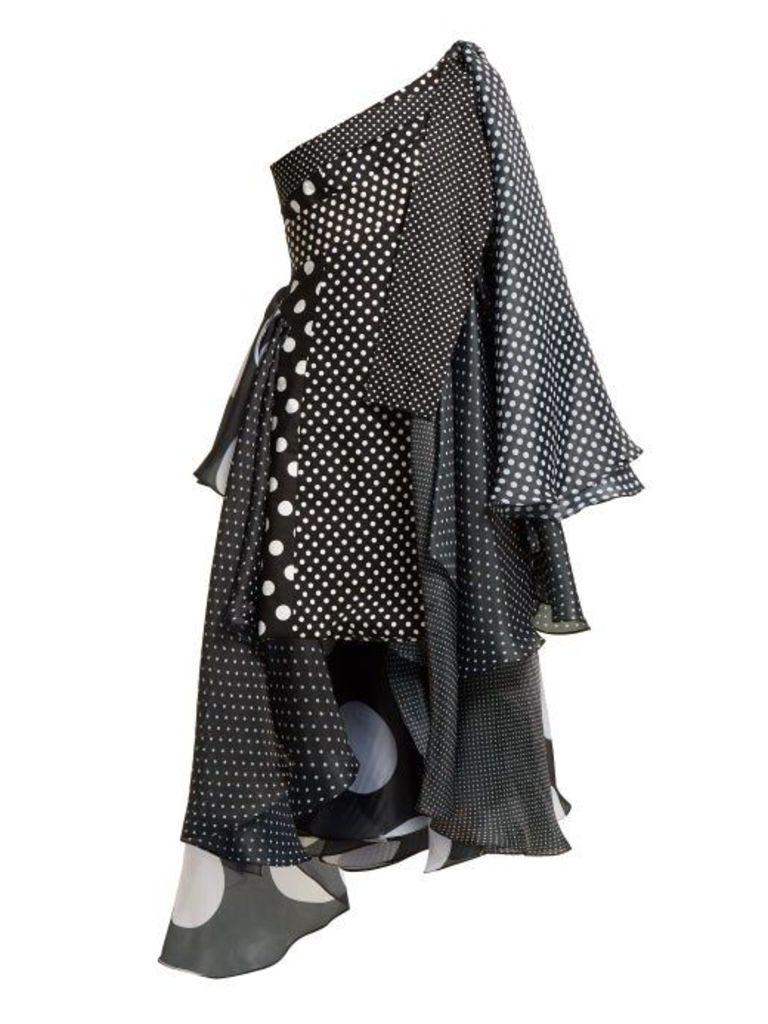 Asymmetric polka-dot dress