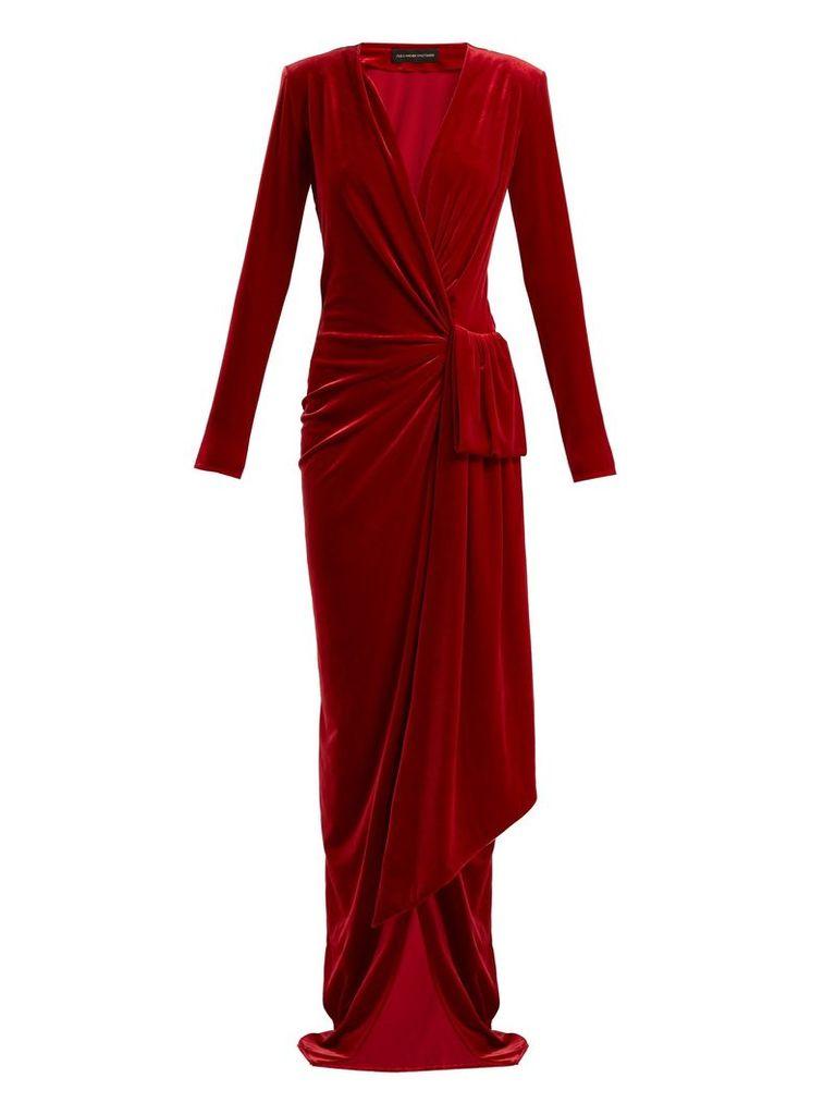 Gathered velvet wrap dress