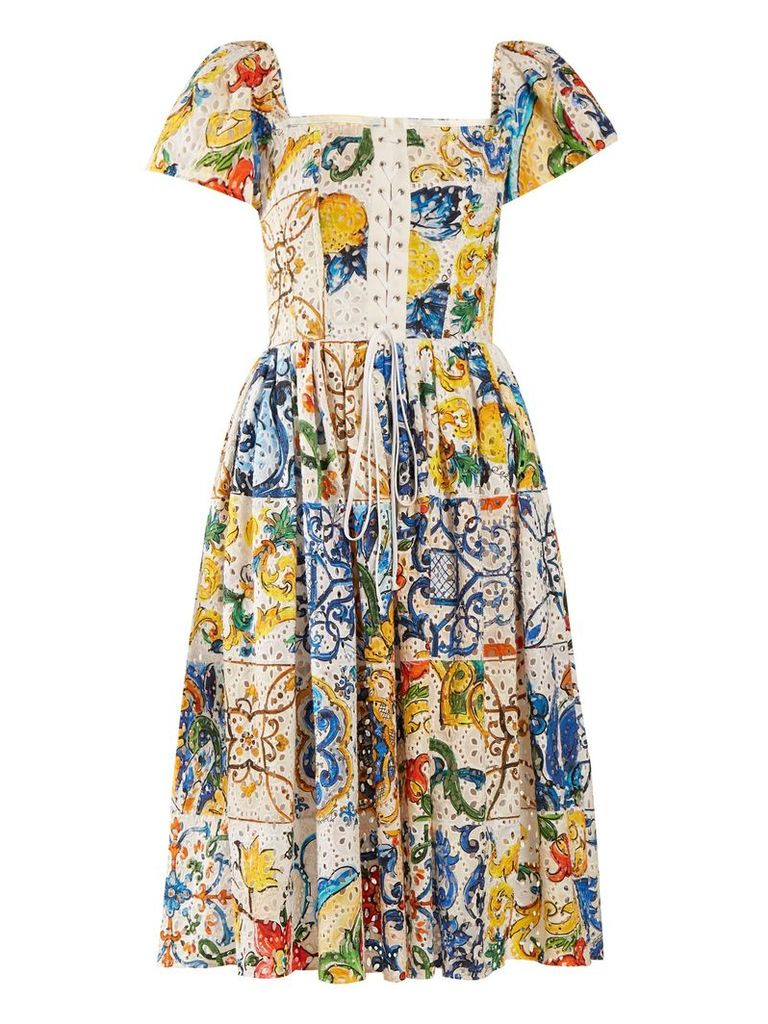 Majolica-print cotton broderie-anglaise midi dress