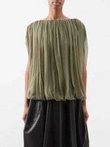 Hillier Bartley - Belted Metallic Silk Satin Dress - Womens - Gold