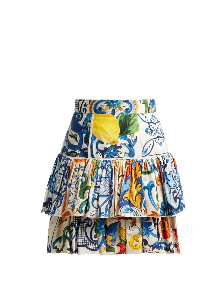 Majolica-print cotton-poplin mini skirt