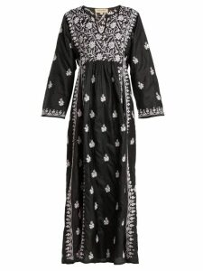 Muzungu Sisters - Floral-embroidered Silk Dress - Womens - Black Pink