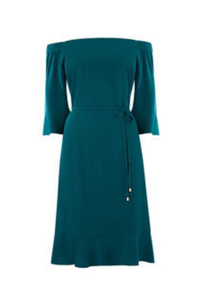 LONG FLUTED BARDOT DRESS