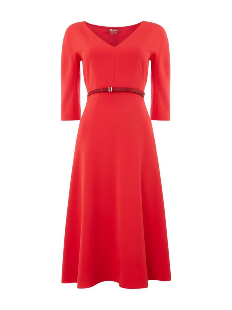 Max Mara Studio V neck midi dress, Red