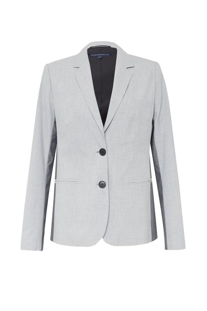 French Connection Colour Block Suiting Fitted Blazer, Black