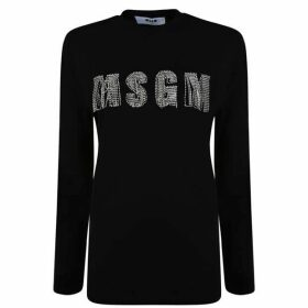 MSGM Diamante Logo Long Sleeve T Shirt