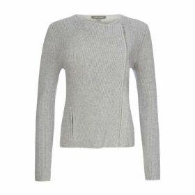 Grey Ribbed Biker Jumper
