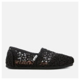 TOMS Women's Alpargata Vegan Slip-On Pumps - Black Lace Leaves - UK 4