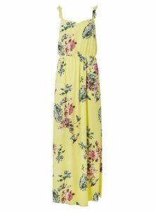 Womens Vila Yellow Floral Print Maxi Dress - Multi Colour, Multi Colour