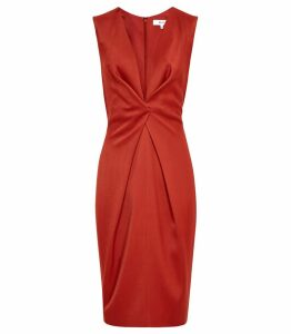 Reiss Mosaic - Twist Front Dress in Desert Red, Womens, Size 14