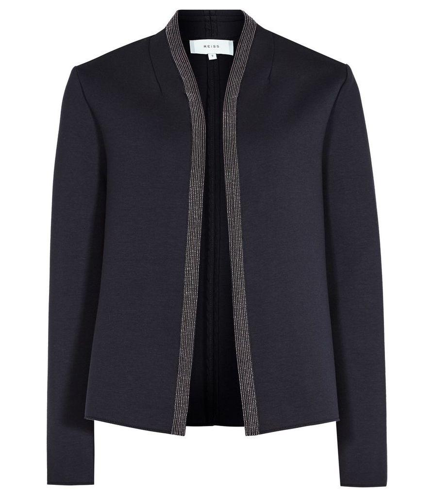 Reiss Monia - Neoprene Jacket in Night Navy, Womens, Size S