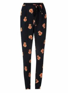Womens **Tall Navy Floral Joggers- Blue, Blue