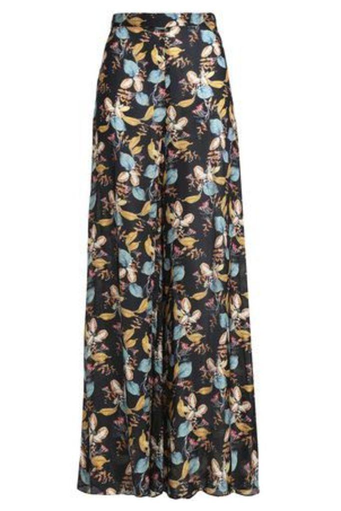 Nicholas Woman Printed Silk Crepe De Chine Wide-leg Pants Black Size 4
