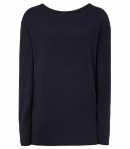 Reiss Nada - Crew Neck Jumper in Navy, Womens, Size XXL