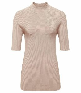 Reiss Lina - Ribbed Half-sleeve Top in Copper Rose, Womens, Size XXL