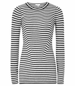 Reiss Chartwell - Striped Long Sleeved Top in Black/white, Womens, Size XXL