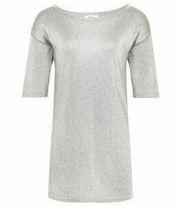 Reiss Lilea - Metallic Knitted Top in Mint, Womens, Size XXL