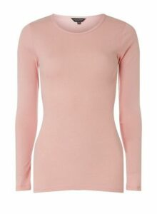 Womens **Tall Pink Long Sleeve Crew Neck Top- Pink, Pink