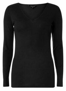 Womens **Tall Black Long Sleeve Crew Neck Top- Black, Black