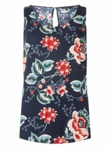 Womens Vero Moda Navy Floral Print Tank Top, Navy