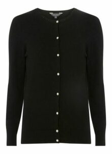 Womens **Tall Black Embellished Cardigan, Black