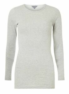 Womens **Tall Grey Long Sleeve Crew Neck Top- Grey, Grey