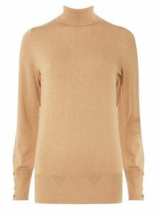 Womens Camel Roll Neck Jumper- White, White