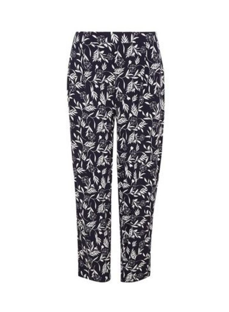 Navy Blue Floral Print Tapered Trousers, Navy