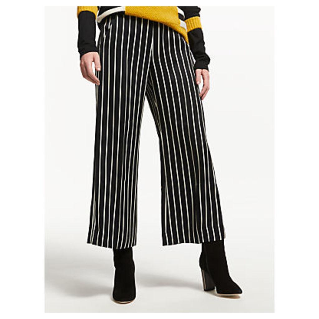 Marella Nocher Stripe Wide Leg Trousers, Black/White