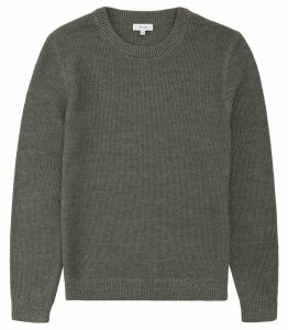 Reiss Humbleton - Textured Crew Neck Jumper in Sage, Mens, Size XXL